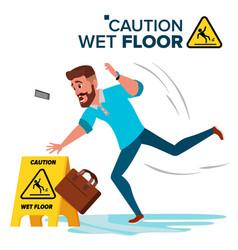 Man slips on wet floor caution sign vector