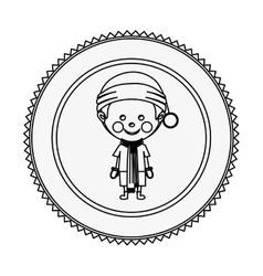 Monochrome contour circle with boy with christmas vector