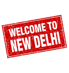 New delhi red square grunge welcome to stamp vector