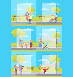 Older people outside collection of vector
