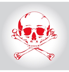 Red Skull and crossbones vector image