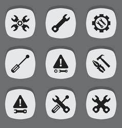 Set of 9 editable repair icons includes symbols vector