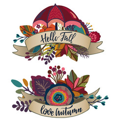 Two autumn bouquets with ribbons lettering vector
