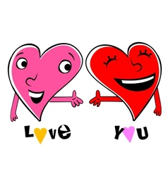 Two Loving cartoon hearts vector image vector image