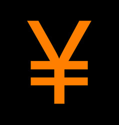 Yen sign orange icon on black background old vector