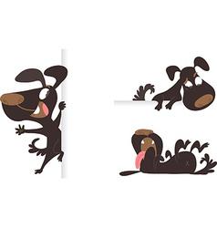 Set of tree black cartoon dogs vector image