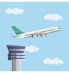 Airport control tower and flying civil airplane vector image