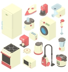 Household appliance icons set cartoon style vector