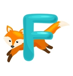 Letter with animal fox for abc education in vector