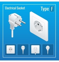 Isometric switches and sockets set type f vector