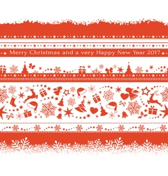 Seamless Christmas borders vector image