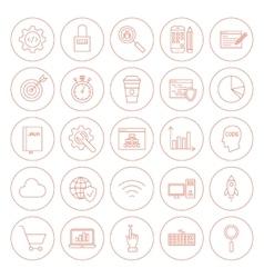 Line website development circle icons vector