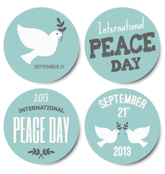 Peace day symbols stickers collection vector