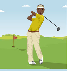 African american male golf player hitting the ball vector