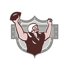 American football receiver touchdown retro vector