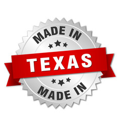 Made in texas silver badge with red ribbon vector