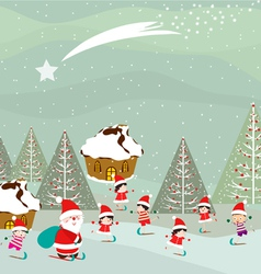 skiing santa claus and kids on winter forest vector image