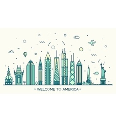 United states america skyline linear style vector