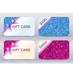 Set of blue and pink glitter gift cards templates vector