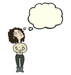 Cartoon woman looking upwards with thought bubble vector