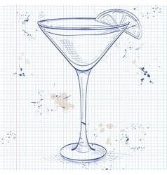 White lady cocktail on a notebook page vector
