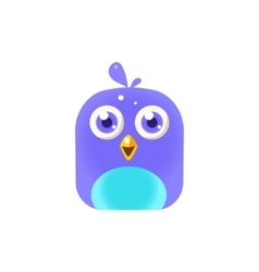 Blue chick square icon vector