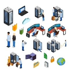 Datacenter Isometric Isolated Icons Set vector image
