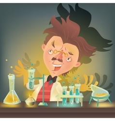 Bushy haired mad professor in lab coat vector