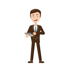 Businessman with tablet icon cartoon style vector image
