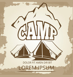 camping label with tents and mountains on vintage vector image vector image