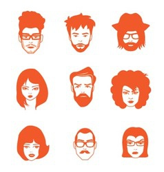 Characters faces vector