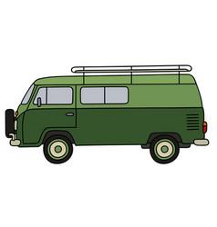 Classic green minivan vector