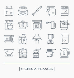 collection of kitchen appliances icons vector image vector image