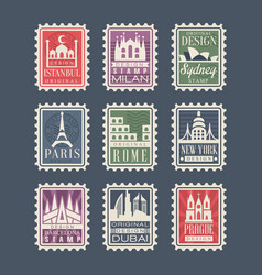 collection of stamps from different countries with vector image