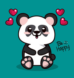 Color background with kawaii animal bear panda and vector