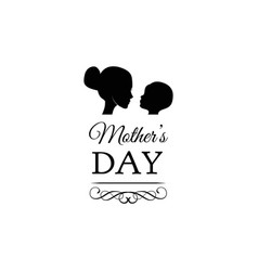 concept greeting card mother child silhouettes vector image