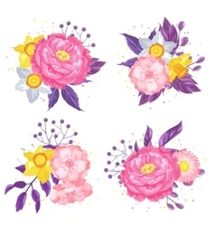 Decorative elements with delicate flowers object vector