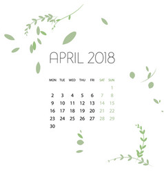 Design herb template calendar 2018 vector