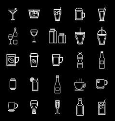 Drink line icons on black background vector