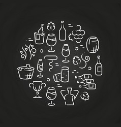 Drinks line icons - wine logo on chalkboard vector