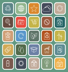 Ecology line flat icons on green background vector image