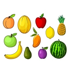 Farm colorful sweet fruits in cartoon style vector