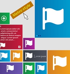 Flag icon sign metro style buttons modern vector