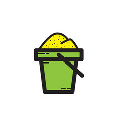 Flat color sand bucket icon vector