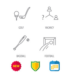 football golf and baseball icons vector image