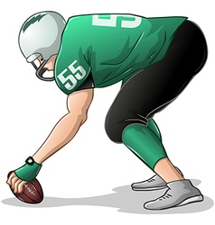 Football player kneels and holds ball side view vector