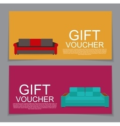 Gift voucher template with variation of sofa vector