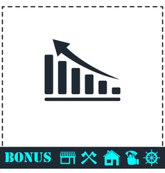 Graph icon flat vector