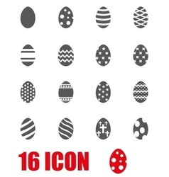 grey easter icon set vector image vector image