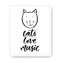 Hand drawn lettering with cute cat cats love vector